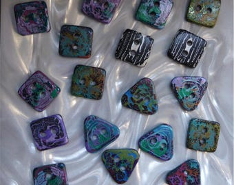 18 unusual funky handmade buttons (set18_16)
