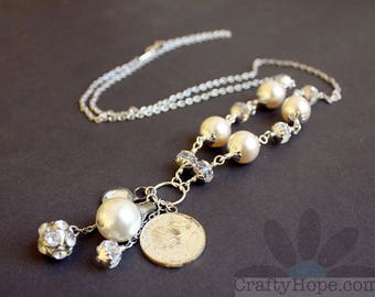 White Dangles Necklace - salvaged jewelry, long necklace, pearls, crystals, rhinestones
