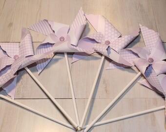 NEW - Lavender or Purple Dots, Stripes & Plaid Pinwheel Collection (Qty 12) Lavender Pinwheels, Purple Pinwheels, Pinwheel Centerpiece