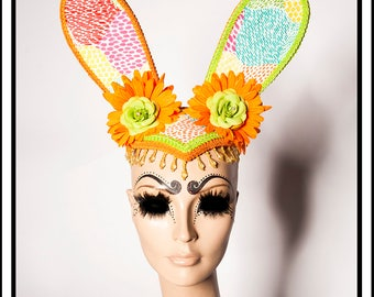 Rabbit Hole.... Super Bright Neon Bunny Rabbit Ears With Orange Daisys and Lime Roses Fascinator Headdresss Costume Animal