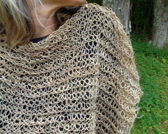 hand knit womens poncho hemp enchanted forest summer faerie poncho - simple days poncho