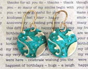 Small Petite Earrings, Vintaj Earrings, Vintaj Jewelry, Green Jewelry, Boho Jewelry, Dainty, Patina Jewelry, Brass Jewelry, Lily Damask