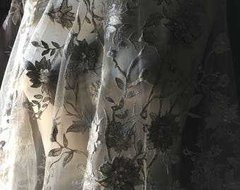 Silver & Gold LACE Fabric Appliqued, Beaded and Embroidered for Bridal, Veils, Ballet, Couture Gowns, Costume Design