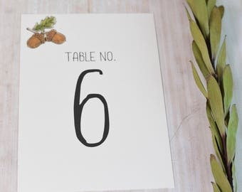 Oak Tree , Acorn Flat 5x7 or 4x6 Table Number for Wedding Reception