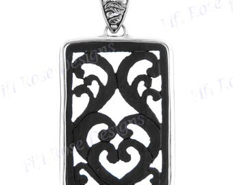 "2 3/8"" Hanadmade Scroll Wood Carving 925 Sterling Silver Pendant"