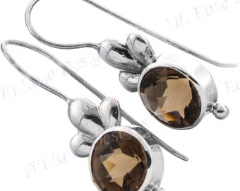 "11/16"" 2.5ct Smokey Quartz 925 Sterling Silver Earrings"