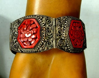 Antique Export Chinese Cinnabar Link Panel Bracelet, 1910s Darkened Silver Wash on Copper,  Classic Carved Asian Very Ornate Jewelry