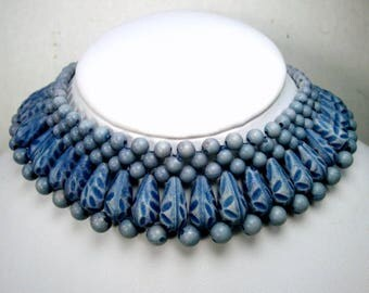 Egyptian Revival Cleopatra BLUE Collar Necklace, Vintage Beaded Resin Circlet, 1950s, Art Deco n Cottage Chic, Adjustable length