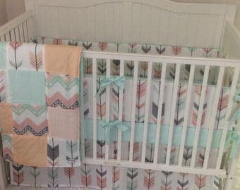 Baby Bedding Crib Set Coral Mint Peach Gray Tribal Arrows with Quilt