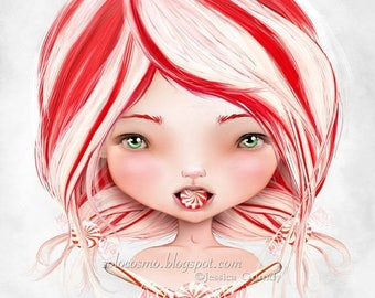 """50% Off SALE Holiday Art Print - """"Peppermint"""" - Red and White Candy Girl Artwork - 8.5x11 or 8x10 Medium Sized  Fine Art Print by Jessica vo"""