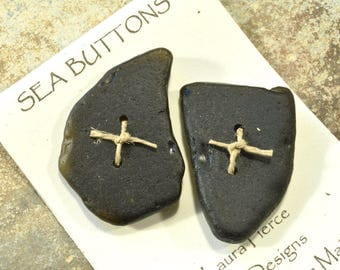 Set of two large deep olive black very old natural Maine sea glass beach glass buttons a very unusual color