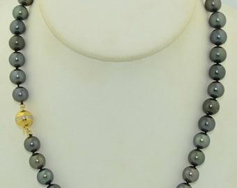 9.5mm Tahitian Black Pearl Necklace 14K & Diamond Clasp 18 Inch