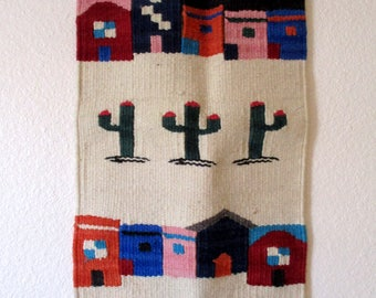 Vintage Vel-Mex Mexican Small Wall Hanging Rug Woven Pueblos Houses Cactus Desert Southwestern Art Weaving