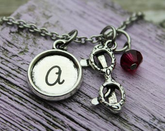 Personalized Sunglasses Initial Charm Necklace