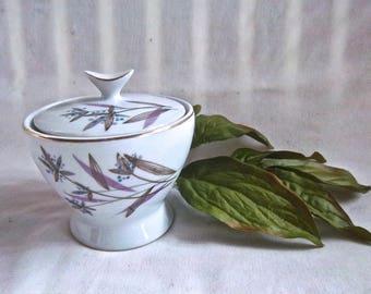 Vintage Mid Century Import Sugar Keepsake Bowl Mid Century Modern Floral Design Double Sided Vintage Home and Living Vintage Keepsake Bowl