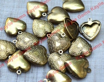 Sale - 20pcs 20mm Light Oxidized Antique Brass Heart Locket Charm Pendant Victorian Style -LKHS-113AB