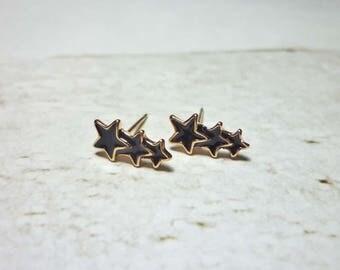 Triple Star Stud Earrings, Dainty Star Earrings
