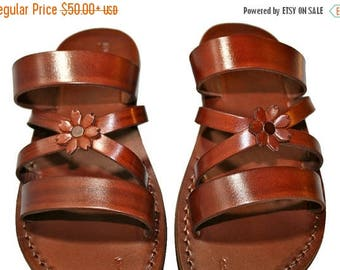 15% OFF Brown Bio-pop Leather Sandals For Men & Women - Handmade Unisex Sandals, Flip Flop Sandals, Jesus Sandals, Genuine Leather Sandals