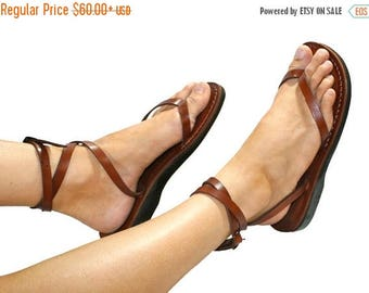 15% OFF Brown Ankle-strap Leather Sandals For Men & Women - Handmade Sandals, Leather Flip Flops, Unisex Flat Sandals, Brown Leather Sandals
