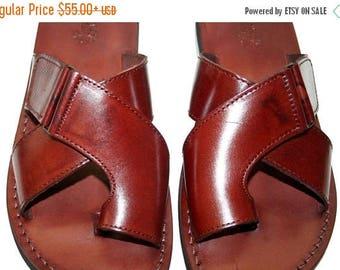 15% OFF Brown Tiger Leather Sandals For Men & Women - Handmade Unisex Sandals, Flip Flop Sandals, Jesus Sandals, Genuine Leather, Brown Sand