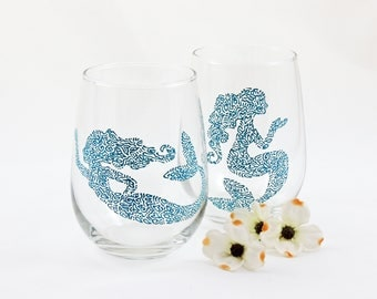 Mermaid wine glasses - Set of 2 hand painted stemless glasses - Sea Glass Collection