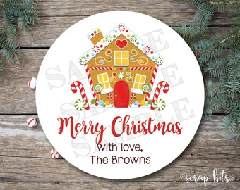 Gingerbread House Stickers, Gingerbread Tags, Christmas Labels, Christmas Tags, Personalized Christmas Stickers, Holiday Stickers