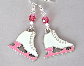 Figure skater earrings, gift for ice skater, pink and white ice skating earrings, I love to skate, enamel, Swarovski crystal