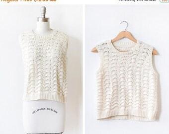 20% OFF SALE knit tank top,  70s ivory crochet sweater, white pointelle 1970s vest, medium m