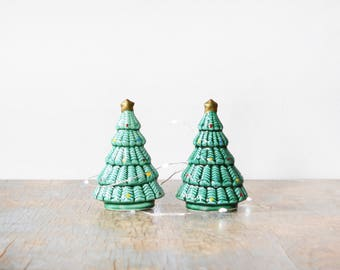 christmas tree salt and pepper shakers, vintage ceramic green pine tree shakers, holiday kitchen decor
