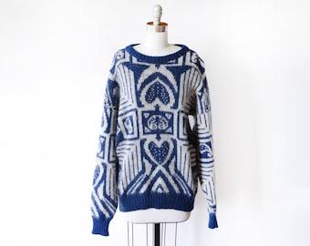 vintage Icelandic sweater, 80s blue + white wool sweater, 1980s Nordic sweater, geometric folk Scandinavian pullover knit, large or xl