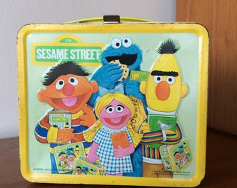 Vintage Sesame Street Metal Lunchbox with Plastic Thermos 70's Muppet Lunch Box Big Bird, Bert, Ernie for School, Storage Box or Purse