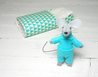 Animal plush felt mouse miniature mouse in a box stuffed animal matchbox doll geometric triangle turquoise toy for bjd kids birthday gift