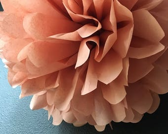 ROSÉ tissue paper pom / bridal shower luncheon / rose gold copper wedding decor / wine tasting party / french paris birthday bohemia