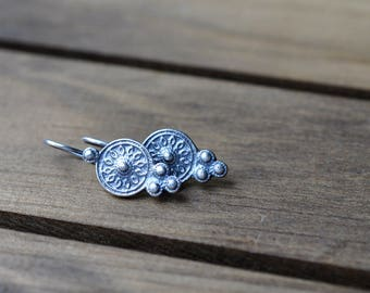 Sterling Silver Earrings, Sterling Silver Cast Earrings, Ornate Dangly Earrings - Adana Earrings