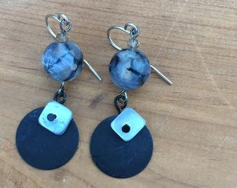 Womens Dangle Earrings, dark neutral shade-agate, shell and metal Smoke Collection
