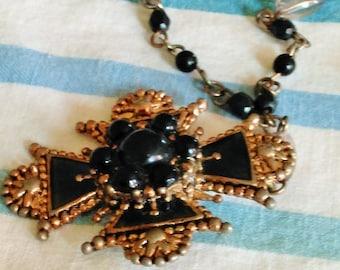 SALE Cross Rosary Necklace Pendant, Black type Stones, very beautiful
