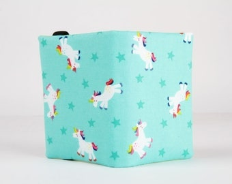 Fabric card holder - Unicorns on mint green / rainbow / neon green hot pink white blue