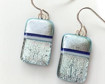 Silver Dichroic Earrings - Silver Bar Earrings - Handmade Earrings - Silver Drop Earrings - Fused Glass Jewellery EE 609