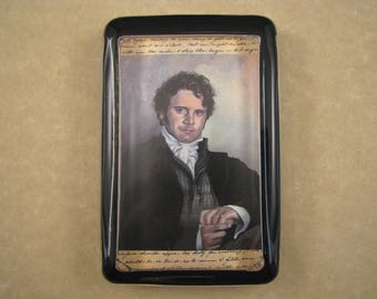 Austen Paperweight, Jane Austen Lover, Mr. Darcy Portrait, Pride and Prejudice, Colin Firth Portrait, Large Rectangle, Glass Paperweight