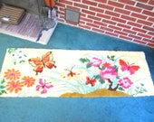Fun Large 72x24 Hand Hooked Wool Rug with Colorful Butterfly Floral Design