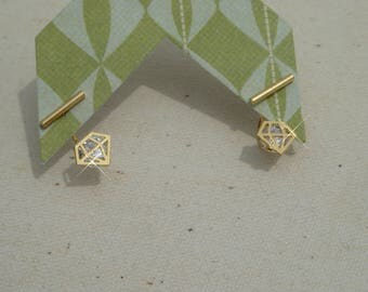 Gold diamond earring jackets with gold bar earring studs