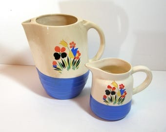Universal Potteries  Tip Top Refrigerator Jug and Small Pitcher with Flowers, Retro