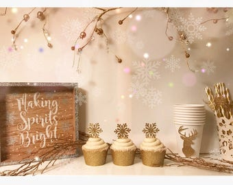 Snowflake Cupcake Toppers| Snowflake Cupcake Picks| Onederland Toppers| Christmas Toppers| Onederland Decor