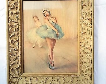 Vintage Ballerina Print from Pal Fried Painting Fancy Wood Frame