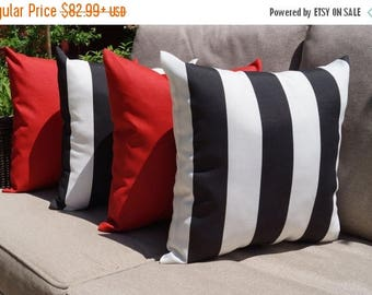 Mill Creek Finnigan Stripe Black and Sundeck Red Outdoor Throw Pillows - 4 Pk - Free Shipping