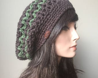 Rasta Mesh Slouchy hat tam Brown and Green Eco Friendly Hemp Wool Blend Autumn Fall Winter Fashion ready to ship
