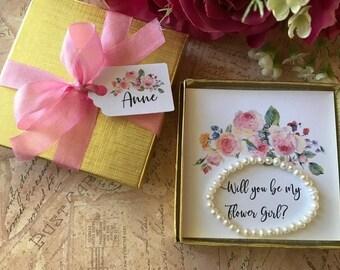 Will You Be My Flower Girl Bracelet, Flower Girl Bracelet Gift, Flower Girl Pearl Bracelet, Will You Be My Flower Girl Card