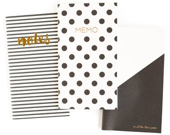 Black and White Notebook - Polka Dot Notebook - Pocket Journal - Travel Notebook - My Mind's Eye - Mini Notebooks - B & W stripe notebook