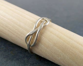 Infinity Knot Ring in Sterling Silver, Simplicity, Minimal