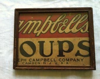 """Charming Campbell Soups or """"Oups"""" Advertsing Sign by Barneche/Stephanie Barnes Studio"""